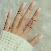Women Ring Set Unique Adjustable Punk Style Gold Color Knuckle Rings Jewelry New