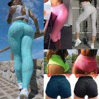 Women High Waist Yoga Pants Anti Cellulite Push Up Ruched Sport Fitness Leggings