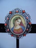 800 Silver Filigree & Hand Painted Virgin Mary Antique Pendant / OR Pin
