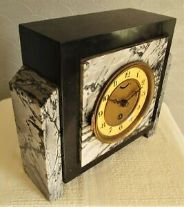 French UCRA Art Deco Marble Mantel Clock for restoration