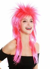 Wig Carnival Punk Mullet Biker Wild 80s Wave Backcombs Long Red Rosa