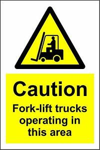 Warning Caution fork-lift trucks operating in this area metal park safety sign