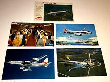 AIRPLANE POSTCARDS VINTAGE SET(5)UNUSED TWA WESTERN AMERICAN TRANS-TEXAS EASTERN