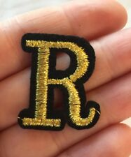 """Gold R Letter Logo Shiny Gold Black Embroidered Patch Iron On 1.25"""" X 1"""""""