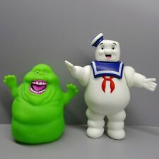 """LOT OF 2 GHOSTBUSTERS ACTION FIGURE Marshmallow Man Green Ghost 4""""-5"""" #j7"""