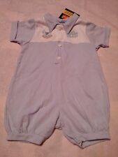 my pal for boys romper 6/9 months blue/ white with blocks embrodiery