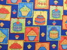 Happy Birthday Cakes & Cupckaes on Blue Quilting Fabric by Yard  #113