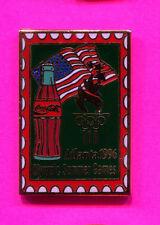 1996 OLYMPIC COCA COLA PIN  COKE COKE BOTTLE WITH USA FLAG PIN