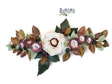 Tiara Boda Adorno Flores Anemona blanca para el Pelo-Flores de Porcelana