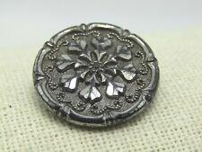 "Victorian Black Glass/Hematie Sewing Button,Pinwheel Design, 7/8"", Shank"