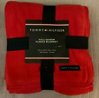 Tommy Hilfiger Blanket Full Queen Plush Fleece Red Soft Warm Easy Care NWT Gift