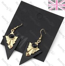TRIANGLE gold polish AZTEC egyptian revival EARRINGS retro VINTAGE STYLE black