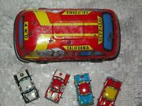 5 x Japanese Tin Toy Combi Van Cars Highway Patrol Police Ambulance Family Japan