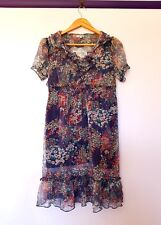 Valleygirl womens size 10 sheer blue floral peasant babydoll style dress