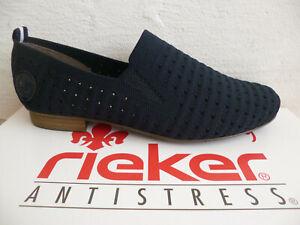 Rieker Slipper Ballerine Chaussures de Sport Basses Baskets Bleu 51984 Neuf