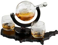 "Elegant Whiskey Decanter with Whiskey Glasses on ""Usa Map Tray"" - Glass Decanter"