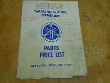 USED YAMAHA PARTS PRICE LIST BOOK FEBRUARY 1, 1971