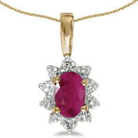 "14k Yellow Gold Oval Ruby And Diamond Pendant with 18"" Chain"