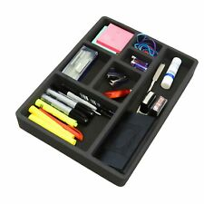 Desk Drawer Organizer Insert Black Home or Office 7 Slot 15.9