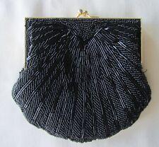 Vintage black beaded evening hand bag good condition