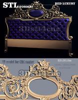 3D STL Model Luxury Bed 1165 for CNC Router Carving Machine Artcam aspire Cut3D