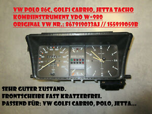 VW Golf 1 Cabrio, Polo 86C, Jetta Tacho Kombiinstrument mit Uhr VW 867919033AJ