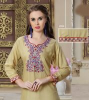 Women Indian Fashion Rayon Winter Embroidery Kurti Tunic Kurta Top Shirt Dress