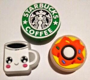 Starbucks Coffee & Glow / Dark Coffee Cup + Donut 3PC Shoe Charms! NEW! For Croc