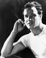 Marlon Brando smokes cigarette beefcake pose in white T-shirt 8x10 Photo