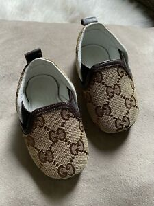Gucci Monogram GG Canva Leather Baby Toddler Infant Shoes Flats Unisex Size 16