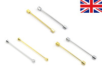Mens Neck Tie Shirt Pin Tie 6.5 cm Bar Silver Gold Collar Clip Clasp Gift UK