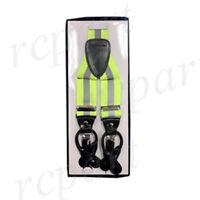 New Y back Men's reflective Green glow in the dark Suspender Braces elastic