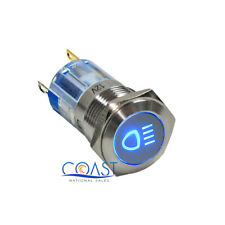 Durable Steel 12V 16mm Car Push Latching Button Blue Driving Light LED Switch