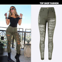 Womens Denim Skinny Ripped Pants High Waist Stretch Jeans Slim Pencil Trousers