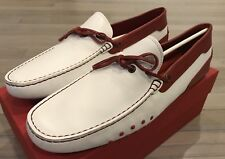 750$ Tod's Ferrari White and Red Nuovo Laccetto Drivers Size US 13 Made In Italy