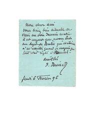 Puvis de CHAVANNES / Lettre autographe sighée / Peinture / Berlin / Exposition