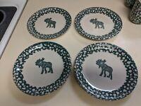 Folk Craft Moose Country Tienshan Green Sponge 7 3/4 in salad plates set of 4