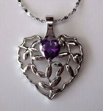 Solid 925 Sterling Silver Filigree Heart Purple Amethyst Pendant Necklace