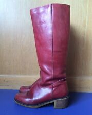 Blondo Red Leather Boots Ladies 7 Medium Vintage Shearling lined Knee High