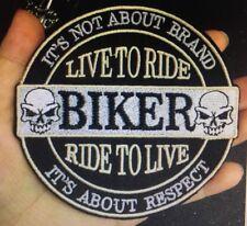 Biker Patch Aufnäher Live to Ride-Ride to Live Skull Ø 10cm Kutte MC Rocker