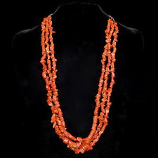 "Santo Domingo 3 Strand Red Coral & Heishi Necklace by Kenneth Aguilar, 29"" long"