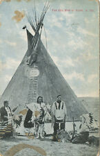 Chinook MT * Indians in Headdress and Teepee ca 1908 * Morris and Kirby #K 703