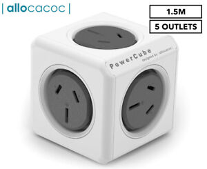 ALLOCACOC POWERCUBE Extended Outlets 1.5M Power Board Extension 5 Outlet