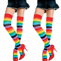 Women OVER KNEE SOCKS Rainbow Striped High Thigh Long Stripey Stocking Sock UK