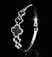14k White Gold GP Black Enamel Clover Bangle Bracelet made w Swarovski Crystal