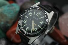Vintage DeVILLE 17 Jewel All Stainless Steel 600Ft Tested 37.5mm Divers Watch