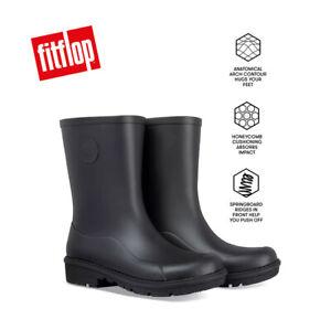 FitFlop WONDERWELLY SHORT Ladies Rubber Wellington Boots Black UK Sizes 4 - 8