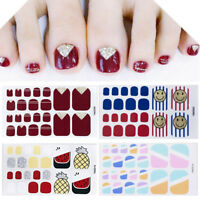Fashion Summer Toe Nail Stickers Wraps Nail Art Decoration Black Self-stick New