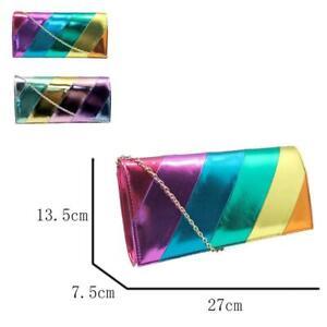 New Womens Designer Style Rainbow Party Clutch Bag Occasion Bag Girls Handbag
