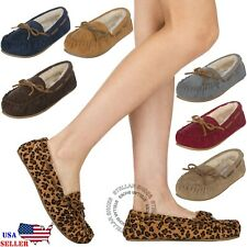 Women's Moccasin Slippers Suede Fur Lined House Shoes Slip On Loafers Moccasins